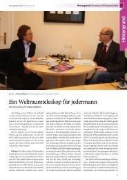 Vollständiges Interview: Ein Weltraumteleskop für jedermann (PDF)