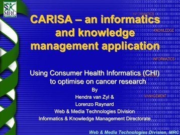 CARISA – an informatics and knowledge management application