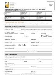 Renaissance College Visual Art Scholarship Application Form 2012 ...