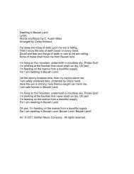 Dwelling in Beulah Land Lyrics Words and Music ... - Pine Lake Music