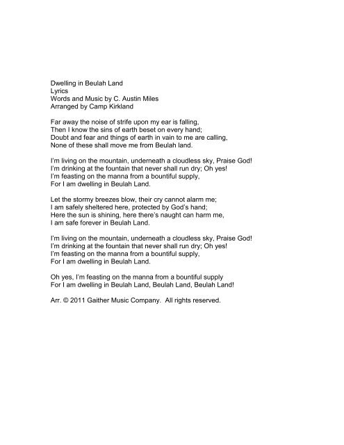 Dwelling in Beulah Land Lyrics Words and Music     - Pine