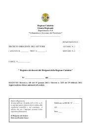 Decreto approvazione - Regione Calabria - Dipartimento ...