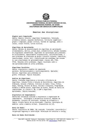 Ementas das disciplinas (.pdf) - UFG