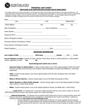 Personal Data Sheet - Northland Community & Technical College