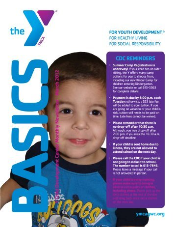 CDC REMINDERS - YMCA of Greater Williamson County