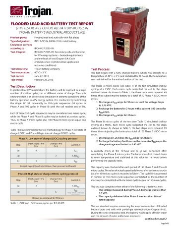 flooded lead acid battery test report - Trojan Battery Company