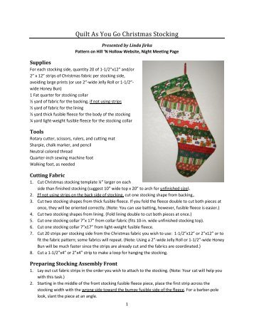 Quilt As You Go Christmas Stocking - Hill 'N Hollow Quilters Guild