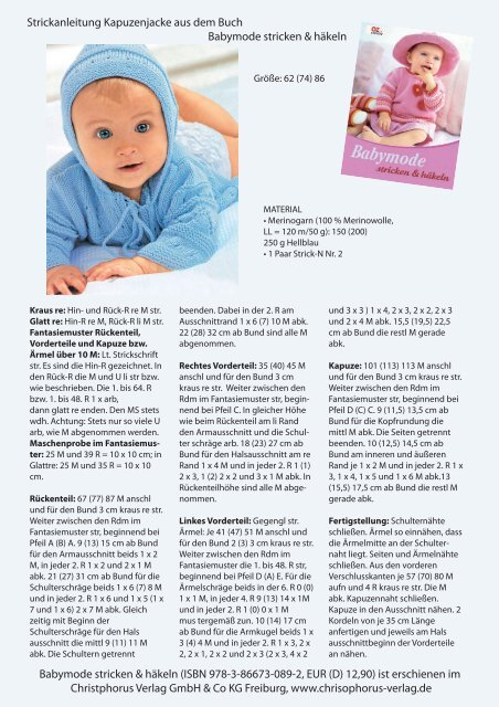 Strickanleitung Baby Kapuzenjacke Oz Verlag