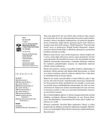 bülten 67 (pdf) - Bilim ve Sanat Vakfı