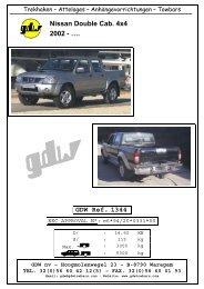 Nissan Double Cab. 4x4 2002 - …. GDW Ref. 1344 - Towbar