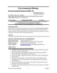 Environmental Biology - De Anza College