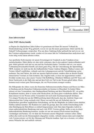 Newsletter 105 (21. Dezember 2005) - Hockey-Club Herne e.V.