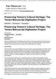 Preserving Yemen's Cultural Heritage: The Yemen Manuscript ...