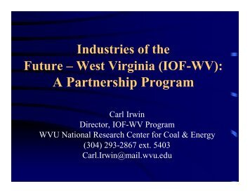 West Virginia Coal Association Presentation with background to IOF ...
