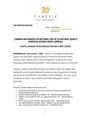 cambria recognizes exceptional use of its natural quartz surfaces ...