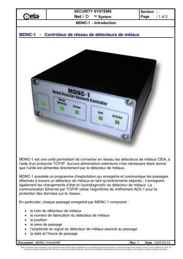 MDNC-1 - Contrôleur de réseau de détecteurs de métaux - Ceia