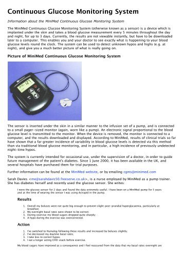 Continuous Glucose Monitoring System - Insulin Pumpers UK