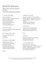 Musik für Klarinette - Robert Schumann Hochschule Düsseldorf