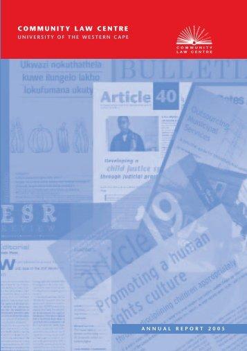 Community Law Centre 2005 Annual Report