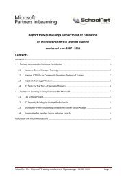 Report on training in Mpumalanga - SchoolNet South Africa
