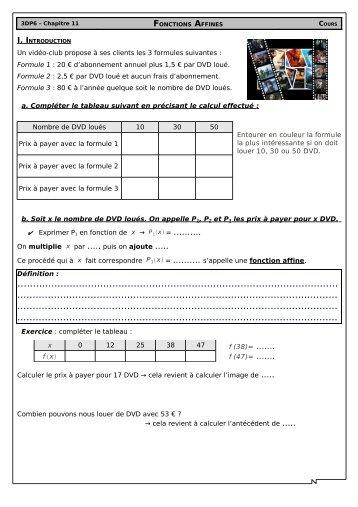 Page 1 3DP6 – Chapitre 11 FONCTIONS AFFINES COURS I ...
