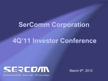PowerPoint ç°¡å± - Sercomm Corporation