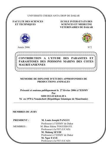 Contribution à l'étude des parasites et parasitoses des ... - BEEP