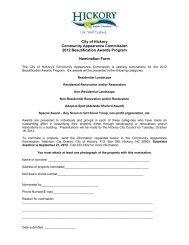CAC Beautification Awards Nomination Form 2012 - City of Hickory