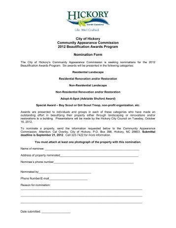 CAC Beautification Awards Nomination Form 2012 - City of Hickory
