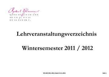 Wintersemester 2011 / 2012 - Robert Schumann Hochschule ...