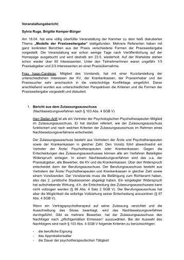 Bericht über Veranstaltung zur Praxisabgabe (PDF, 16 kb)
