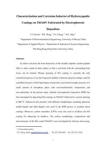 Characterization and Corrosion behavior of Hydroxyapatite ...