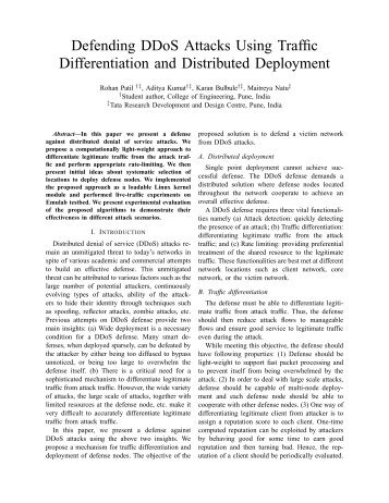 Defending DDoS Attacks Using Traffic Differentiation and ... - HiPC