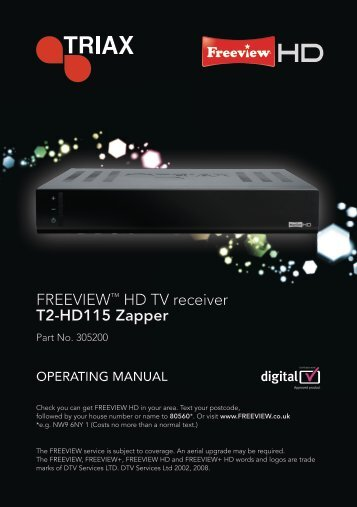 FREEVIEW™ HD TV receiver T2-HD115 Zapper - triaxdirect.co.uk