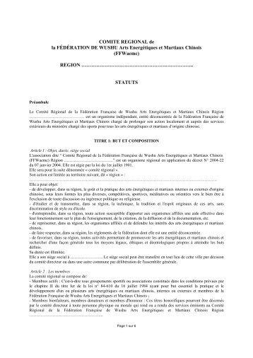 Statuts des comités régionaux - Fédération française de wushu