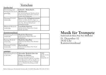 Musik für Trompete - Robert Schumann Hochschule Düsseldorf