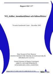 SGC Rapport 137 NOx-källor - Inomhusklimat och hälsoeffekter