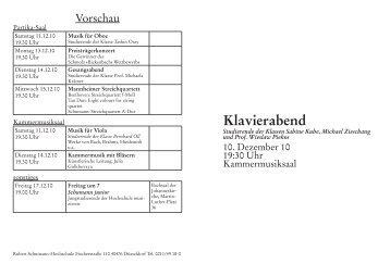 Klavierabend - Robert Schumann Hochschule Düsseldorf