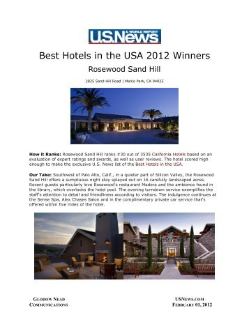 Best Hotels in the USA 2012 Winners - Rosewood Hotels & Resorts