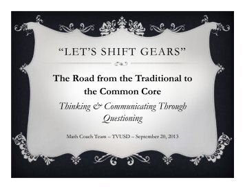 """""""LET'S SHIFT GEARS"""" - The Math Projects Journal"""