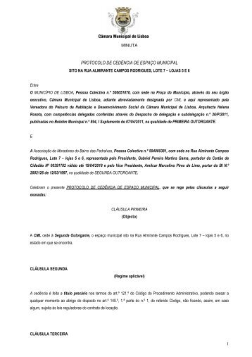 protocolo de cedência de espaço municipal - Programa Local de ...