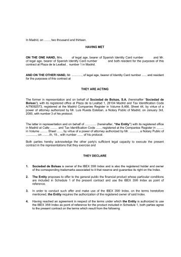 License Agreement Terms - Bolsa de Madrid