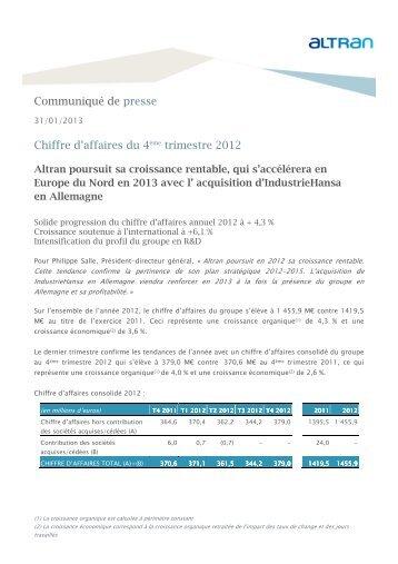 Communiqué de presse Chiffre d'affaires du 4ème trimestre ... - Altran