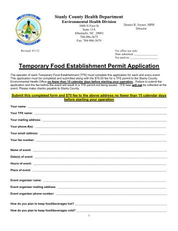 NEW*Temporary Food Establishment Permit Application