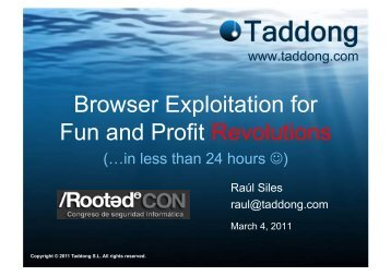Browser Exploitation for Fun and Profit Revolutions - Taddong