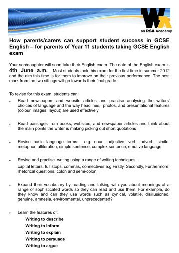 for parents of Year 11 students taking GCSE ... - Whitley Academy