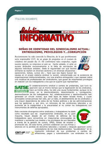 señas de identidad del sindicalismo actual: entreguismo ... - Bolinf