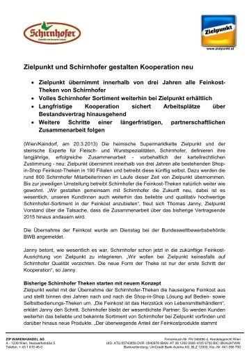 Zielpunkt und Schirnhofer gestalten Kooperation neu