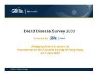 Dread Disease Insurance Experience in Asia - Actuarial Society of ...