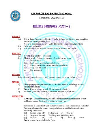 HOLIDAY HOMEWORK : CLASS – X - Air Force Bal Bharati School